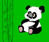 Little panda with big sad eyeson green background vector