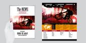 Sports magazine layout and website template vector illustration