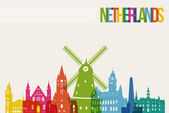 Travel Netherlands destination landmarks skyline background