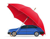 Concept of protected and insured car umbrella vector illustration isolated on white background