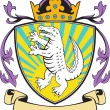 Постер, плакат: Alligator Standing Coat of Arms Retro