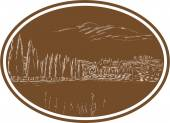 Illustration of Tuscan landscape in Tuscany Italy showing tree and with surrounding houses and landscape set inside oval done in retro woodcut style