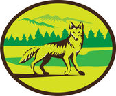 Illustration of a coyote looking front viewed from the side set inside oval shape with mountain trees landscape in the background done in retro style