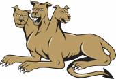 Illustration of cerberus in Greek and Roman mythology a multi-headed usually three-headed dog or hellhound with a serpent's tail a mane of snakes lion's claws sitting set on isolated white background done in cartoon style
