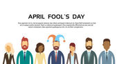 Business People Group Wear Jester Hat Fool Day April Holiday Banner Copy Space Vector Illustration