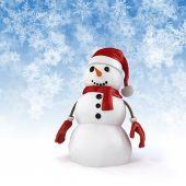 Sněhulák 3D radost a dárky s pozadím sněhové vločky