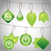 Green Eco Label and Tag Design Collection - Clip-Art Template Set in Freely Scalable and Editable Vector Format