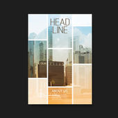 Abstract Colorful Modern Styled Flyer Folder Brochure Leaflet Pamphlet Document or Book Cover Creative Design Template with Mosaic Tiled Cityscape Images: Skyscraper Tall Building Cityscape Urban Theme - Illustration in Editable Vector Format