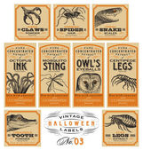 Set of 9 funny vintage Halloween apothecary labels stickers with scary creature illustrations two more sets in the same series