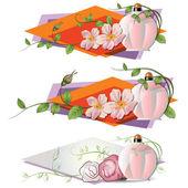 Vektorové romantické medailónek s květinami a parfém
