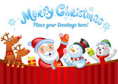 Christmas background with Santa Claus a snowman and other Christmas characters