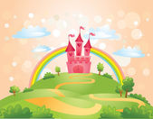 FairyTale landscape the road leading to the castle Vector illustration