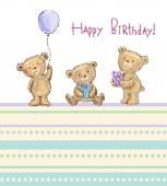 Birthday greetings from cute bears vector illustration