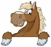 Horse Mascot Cartoon Head Vector illustration