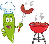 Cute Green Chili Pepper Chef With Sausage On Fork Cook At Barbecue