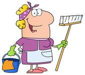 Cleaning Lady Cartoon Character Vector illustration