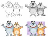 Cartoon pig dog cat frog set