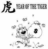 Outlined Tiger Smoking A Cigar And Holding Up A Bag Of Money