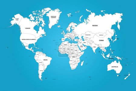 Постер, плакат: The World Map with The Frontiers and Country Names, холст на подрамнике