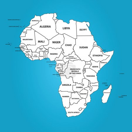 Постер, плакат: Africa Map with The Frontiers and Country Names , холст на подрамнике