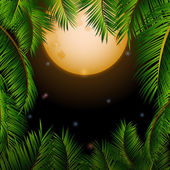 Big tropical moon and palm trees background