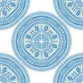Blue Vector seamless ornamental lace pattern Mandala pattern