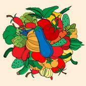 Kézzel rajzolt zöldségfélék gyűjteménye. Doodles, vektoros illusztráció. Szigetelt