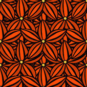 Vector creative hand-drawn abstract seamless pattern of stylized flowers in of red and scarlet