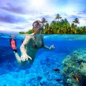 Snorkeling in the tropical water