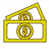 Billets isolated flat icon money and business concept design