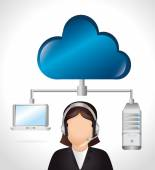 Cloud computing and hosting graphic design vector illustration eps10