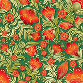 Abstract red seamless floral ornament on dark green background