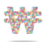 Design created a won with many multicolored clip