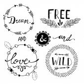 Set of Boho Style Frames and hand drawn elements Vector illustration