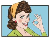 Pop art cute retro woman in comics style with OK sign vector illustration