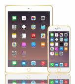 IPhone 6 plus and ipad air 2 with apple icon on screen