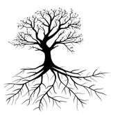 Black tree with roots isolated white background vector eps 10