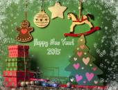Christmas decorations with white horse. New year symbol 2015