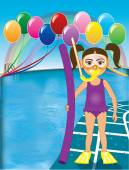 Vector Illustration of Snorkel Girl at pool party with balloons See many other variations