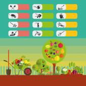 Icons on the theme of organic farming Symbols stages of cultivation of plants Garden tools and accessories