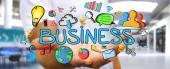 Geschäftsmann mit handgezeichneten Business-Präsentation