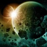 Постер, плакат: Planet explosion apocalypse