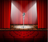 Metallic silver vintage microphone standing on empty stage under beam of spotlight light mic on podium in the dark against red curtain backdrop vector art image illustration retro design