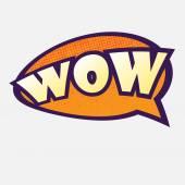 Orange speech bubble with wow text eps10