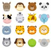 Set of cartoon animals faces Vector collection of cute jungle and other baby animal faces