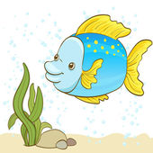 Cartoon fish and bubbles in the water vector illustration