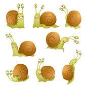 Set of cute cartoon snails vector illustration