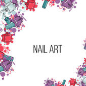 Vector nail lacquer bottles Beauty border and place for your text Nail art