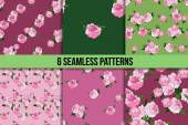 Six seamless patterns with pink peonies on green and pink backgrounds