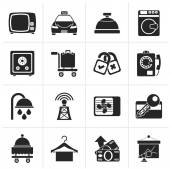 Black Hotel and motel room facilities icons - vector icon set
